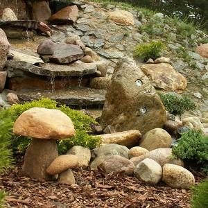 Kamienie ogrodowe fontanna